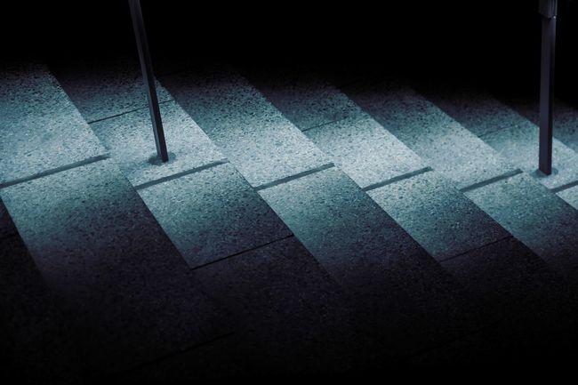 stairs in blue light // Blue Dark Empty Flooring Illuminated Light And Shadow Night Pattern Stairs