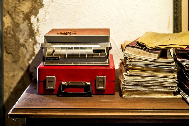 Showing Imperfection Open Edit Color Abandoned Vintage Turntable Record Player Red Suitcase