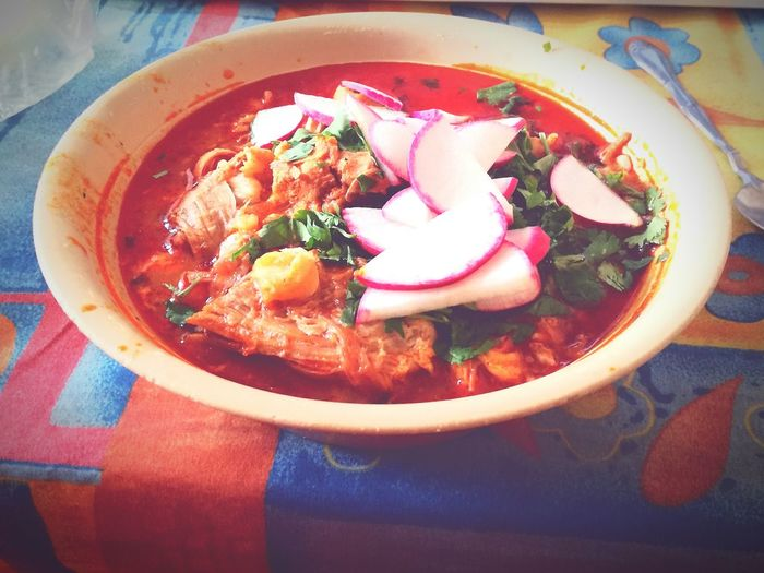 El pozole *-* Table Food And Drink Plate Food Sweet Food Ready-to-eat Freshness Day Healthy Eating No People Close-up Indoors  First Eyeem Photo
