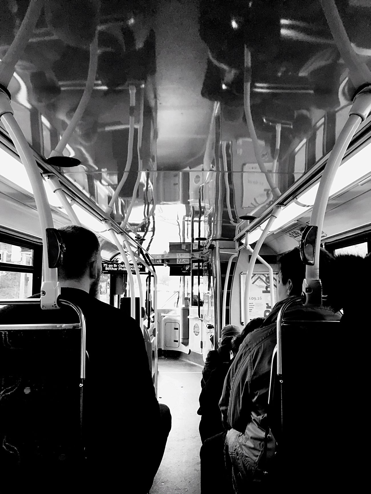 Dublinbus Dublin Dublin, Ireland Mode Of Transport Transport Transport Photography Reflection Reflections Reflection_collection Ceiling Reflection People People Photography People Watching Blackandwhite Photography Black & White Black & White Photography IPhoneography Iphonephotography