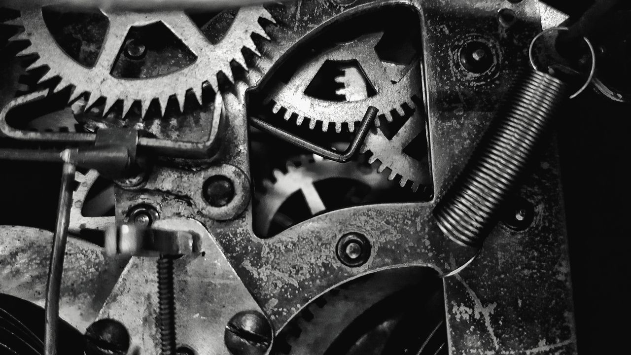 Industry Gear Machine Part Equipment Machinery Close-up No People Clock Time Connection Technology Clockworks Industrial Equipment Day Viewpoint Gears Blackandwhite Photography Black & White Inside Clockparts Black & White Photography Old Old-fashioned Antique Antiques