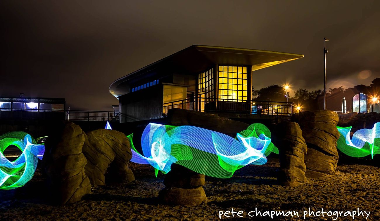Light Painting Light Trails Long Exposure Boscombe Pier  Light Stick