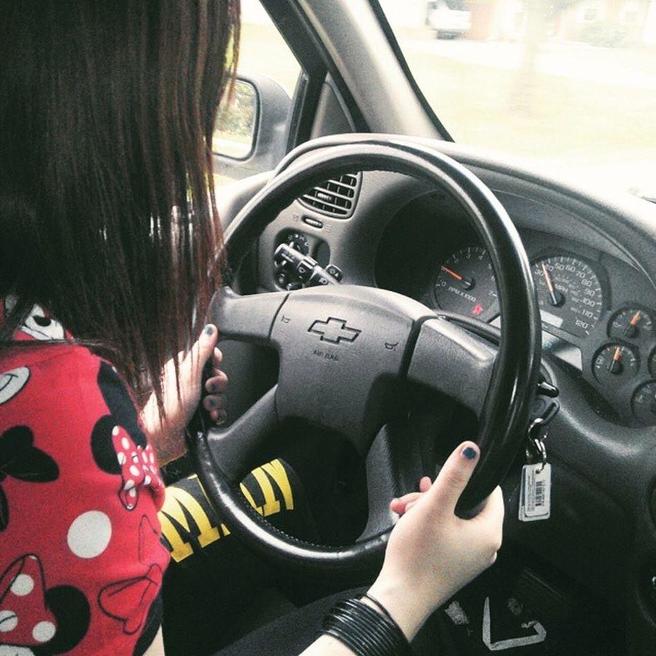 My daughter driving :) Driving Permit Ontheroad Skills  legaldriversafetywatchuptownfunkyouupheyheyheyheyteendreamgrowingupprofessionalstuntinglikehermomma