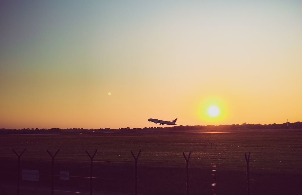 Live For The Story Summer take-off Flying Sunset Airplane Silhouette Sky Outdoors Sunlight Sun Boeing B787-9 Travel Airport Dreaming