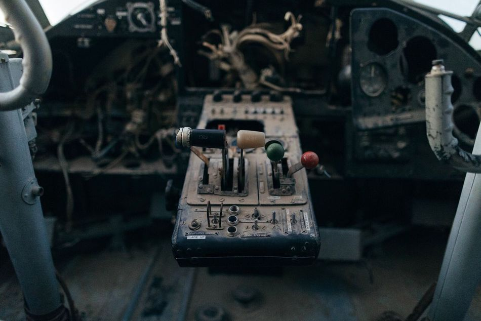 Control Old-fashioned Technology Indoors  Vehicle Interior Transportation Arts Culture And Entertainment Close-up Control Panel No People Sound Mixer Cockpit Gauge Day Plane Abandoned Plane Abandoned