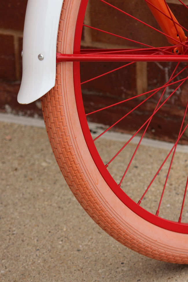 Red bike tire Bicycle Bike Colorful Exercise Fun Orange Ride Spokes Tire Transportation Wheels