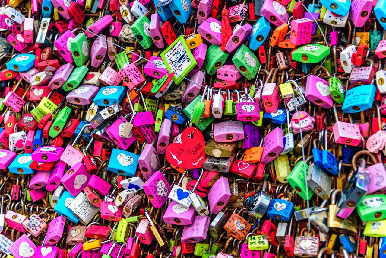 Colorful love padlocks at Seoul Tower Abundance ASIA Backgrounds Close-up Day Eternal Love Fence Full Frame Large Group Of Objects Lock Love Love Love Lock Multi Colored No People Outdoors Padlock Seoul Tower Text Tourism Valentine's Day
