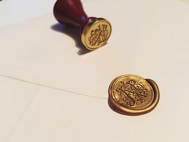 Wedding INVITES Candle Wax Love Sealed With Envelope Gold Initial N Post Family Friends Celebration Party