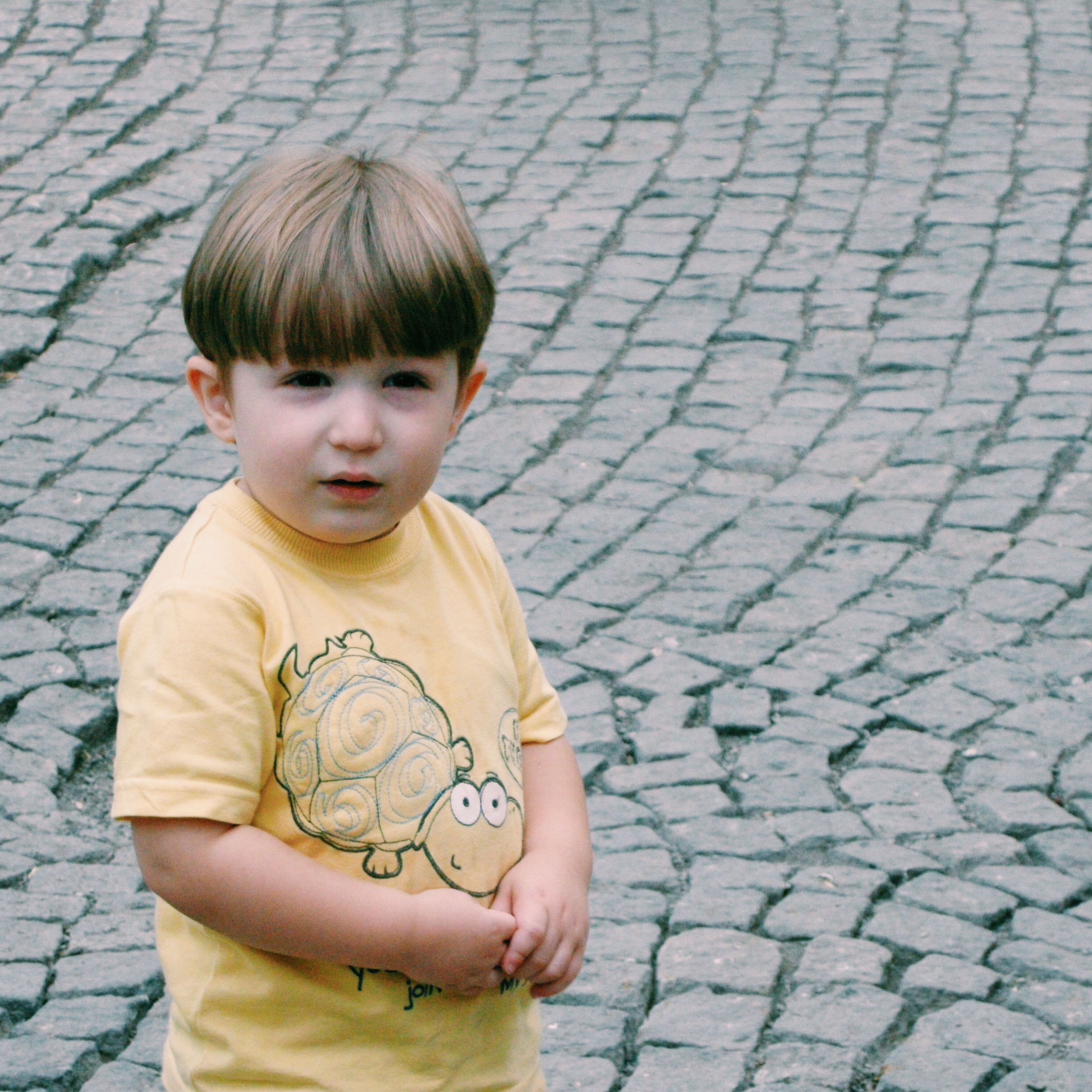 lifestyles, person, leisure activity, casual clothing, childhood, portrait, front view, looking at camera, standing, street, elementary age, boys, smiling, cobblestone, outdoors, happiness, footpath, day