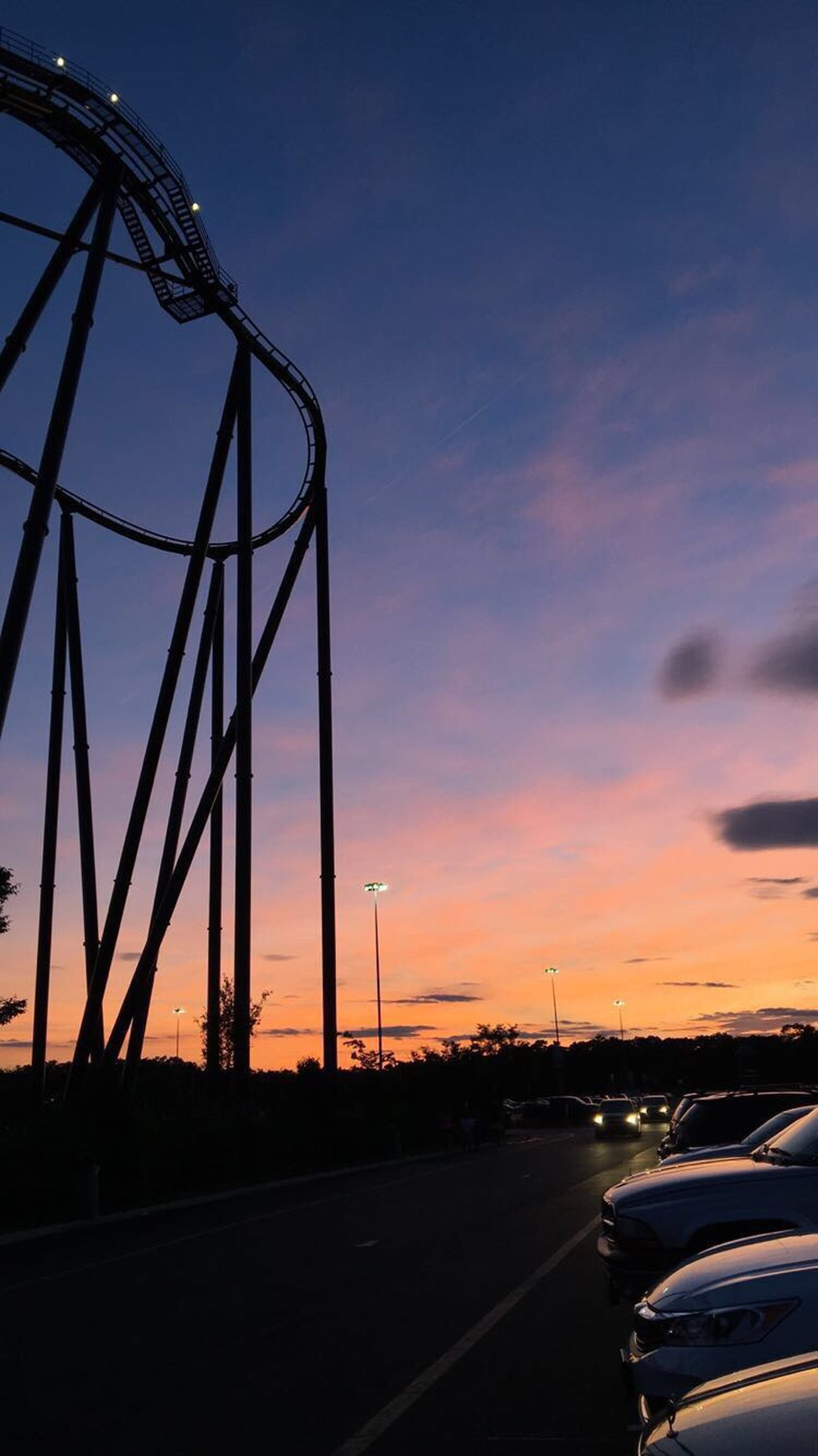 Sunset Sky Roller Coaster EyeEmNewHere Nature Outdoors Six Flags Pretty Parking Lot Cars Goals Mybest MyFavorite  Myfavoriteplace Myfavoritephoto