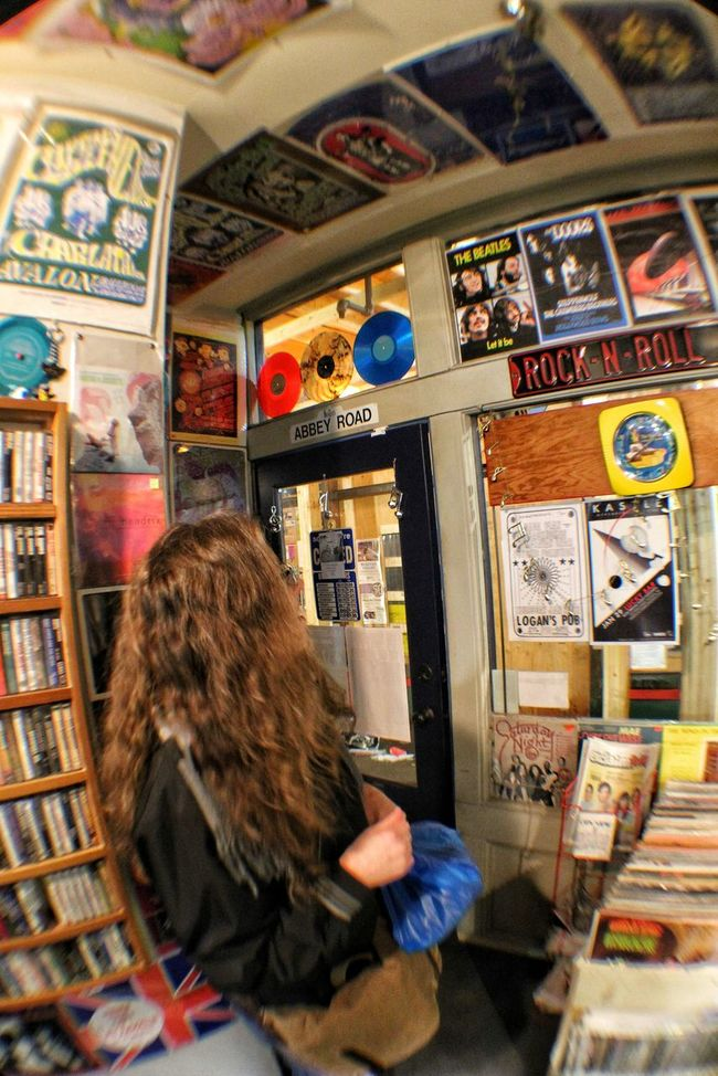 record store daze Hanging Out Taking Photos Check This Out Recordstore Recordstoreday Vintage Hello World Photography Fisheye
