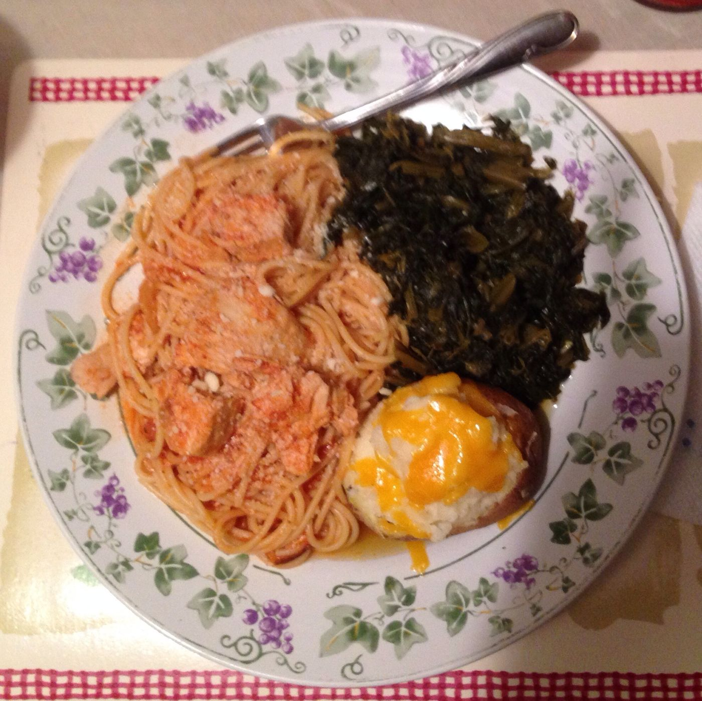 My Mama's Famous Chicken Spaghetti, Collard Greens, and Twice Baked Potatoe! Oh Hell Yeah!!!! Lol! IT'S MY BIRTHDAY!!!!! My Birthday Lunch So Yummy!!!!