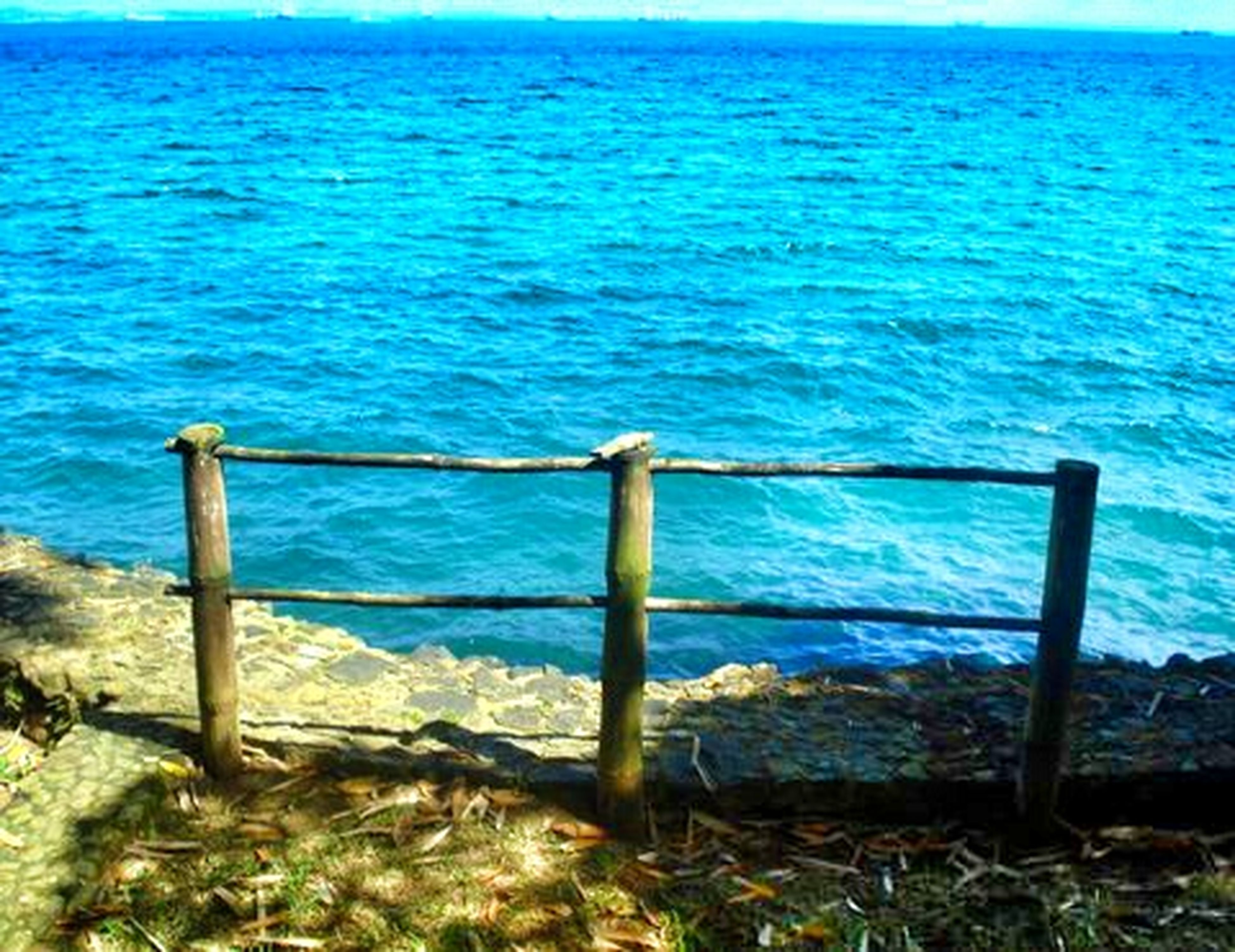 blue, water, tranquility, tranquil scene, sea, grass, scenics, beauty in nature, nature, wood - material, idyllic, day, horizon over water, calm, outdoors, no people, non-urban scene, wooden post, remote, clear sky