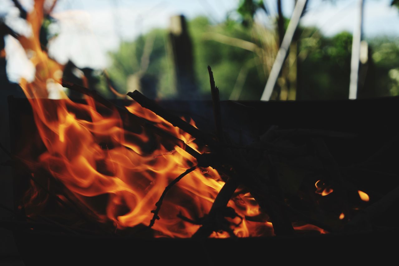 burning, flame, heat - temperature, no people, close-up, motion, outdoors, night, bonfire
