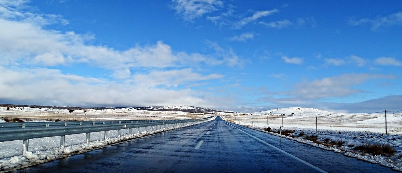 Winter And Ride Winter Scenics The Way Forward Transportation Road Snow Cold Temperature Outdoors Nature Tranquility Beauty In Nature Sky Tranquil Scene No People Blue Cloud - Sky Landscape Mountain Day