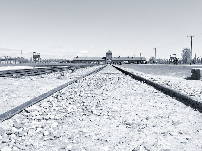 Auschwitz II Birkenau Railroad Track Outdoors No People Sky War Concentration Camp Poland