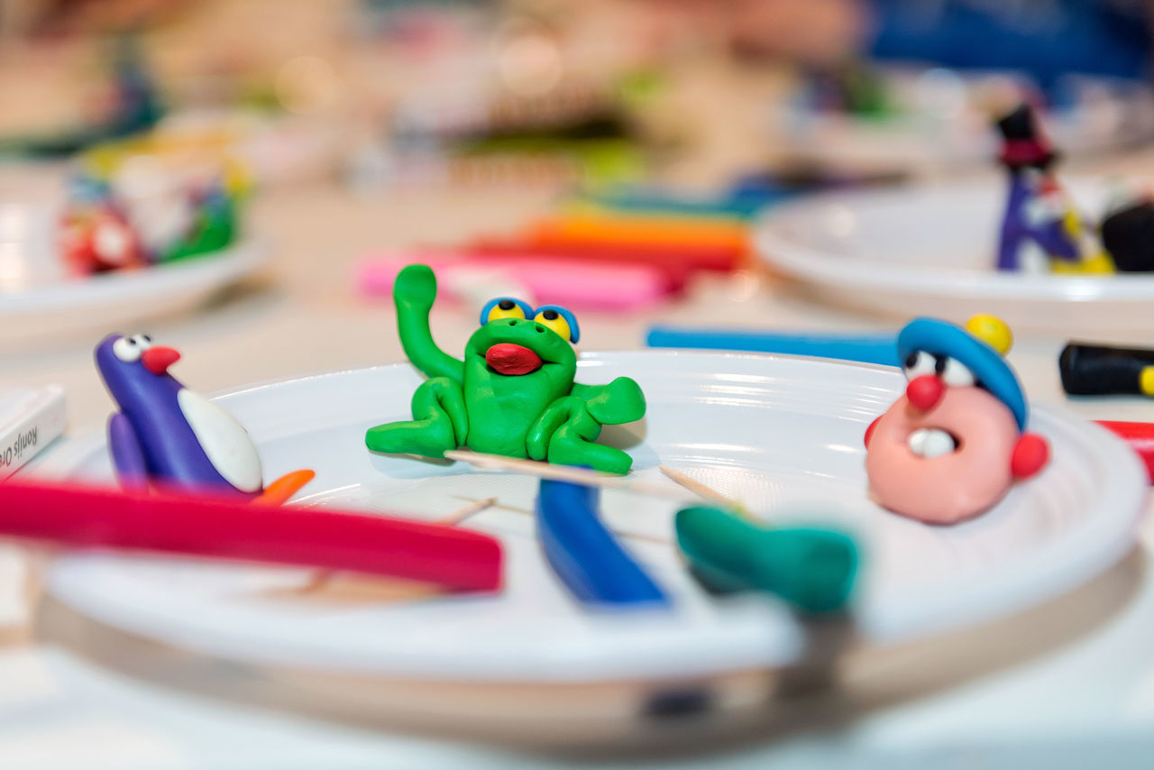 Figures from plasticine. Activity Closeup Colorful Communication Craft Creative Full Frame Game Girl Hanging Out Happy Hobbies Hobby Kid Learn Learning Little Plastic Plasticine Preschooler Sculpture Taking Photos Together