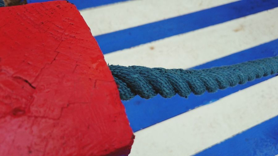 Rope Blue Rope Red Pole Blue And White Stripers Stripes Pattern Open Edits Out And About EyeEm Best Shots The Great Outdoors Feeling Creative Taking Photos Textures And Surfaces Street Photography Light And Shadow Up Close Red Color