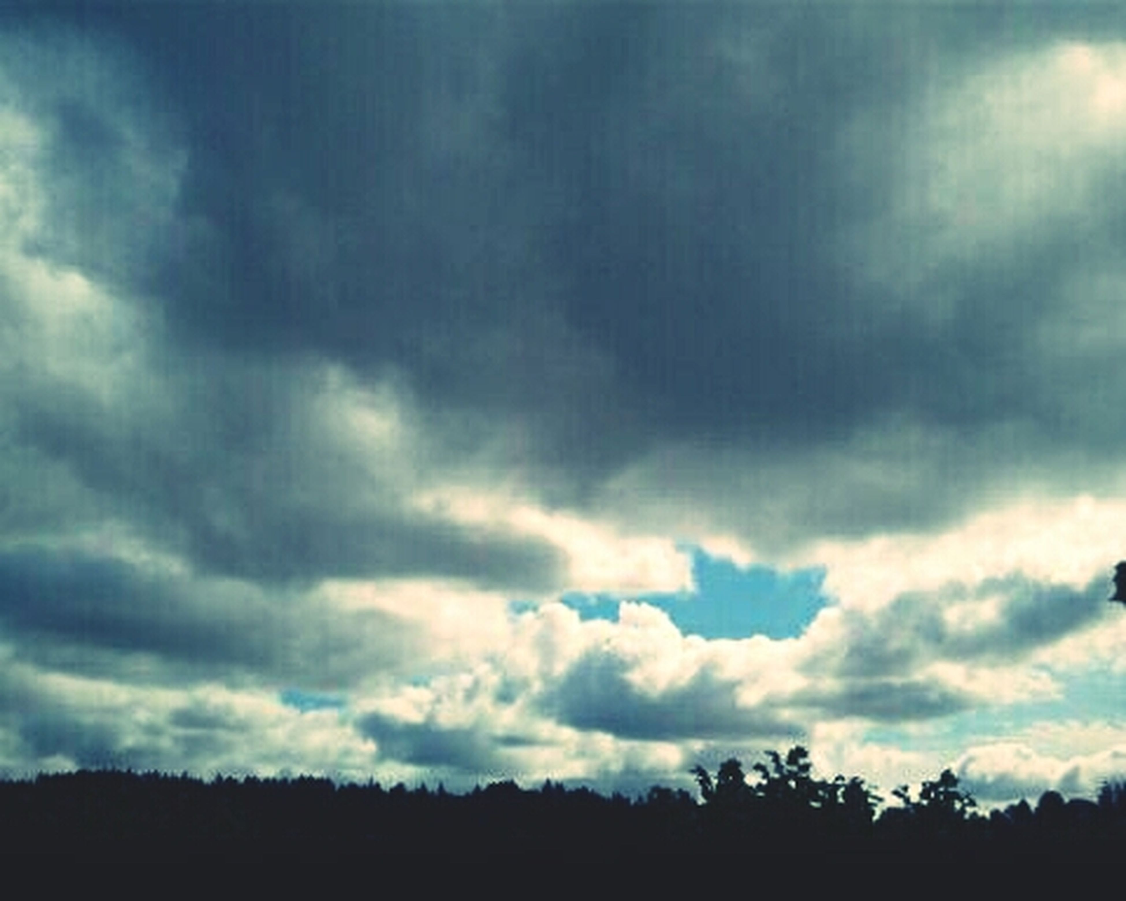 sky, cloud - sky, cloudy, silhouette, tranquility, tranquil scene, scenics, beauty in nature, nature, low angle view, weather, overcast, cloud, tree, cloudscape, storm cloud, dusk, dramatic sky, idyllic, landscape