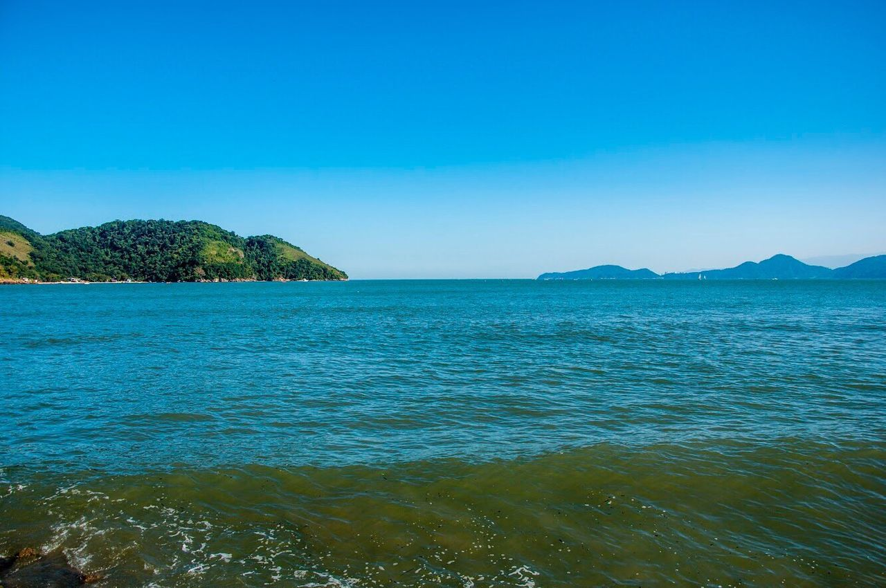 EyeEm Selects EyeEmNewHere Sea Clear Sky Blue Water Beauty In Nature Tranquility Landscape Ocean View Beach Brazilian Beach Outdoors Horizon Over Water