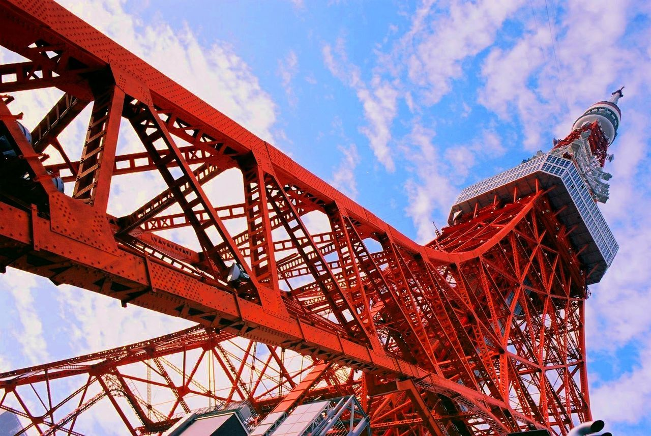 sky, low angle view, cloud - sky, red, metal, built structure, day, outdoors, no people, architecture, nature