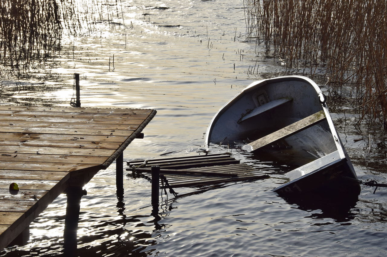 Day Lake Moored Nature Nautical Vessel No People Outdoors Sun Reflection On Water Sunken Boat In A Lake Water Wood - Material