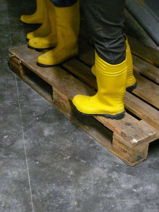 Close-up Concrete Construction Site Elbe Footwear Hamburg Philharmonie Rubber Boots Trench Wood - Material Yellow