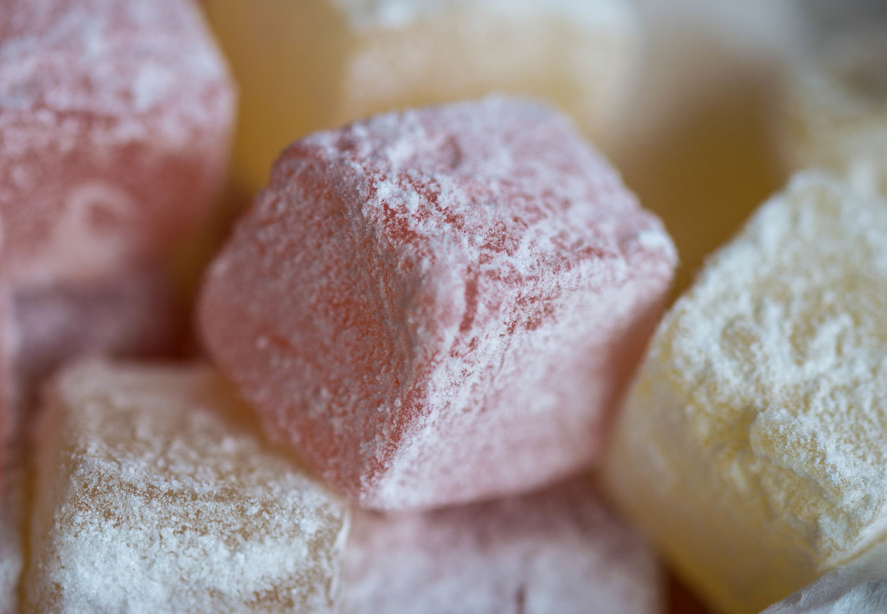 Turkish Delight Close-up Confectionery Food Food And Drink Macro Pastel Pink Sweet Turkish Delight Yellow Maximum Closeness