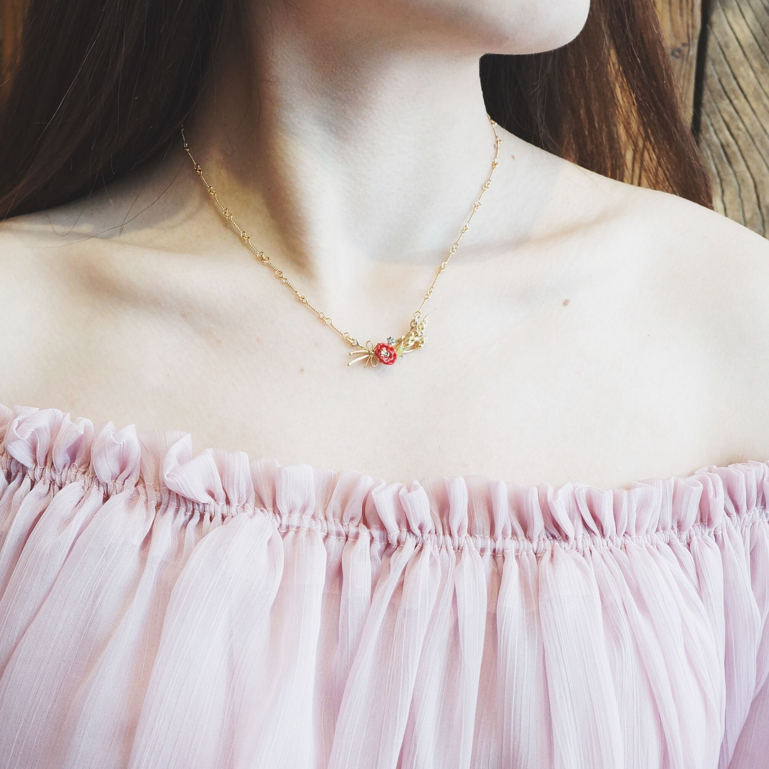 necklace, midsection, one woman only, close-up, adults only, one person, human body part, jewelry, women, only women, indoors, adult, people, wedding dress, day