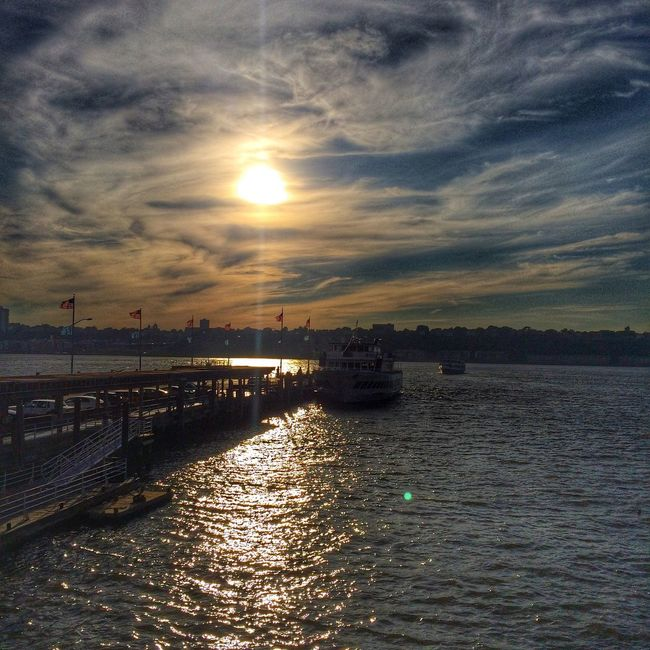 Sunset on the Hudson from the Lobster Company boat on July 22, 2015 in New York City. #nyc #lobsterboat #coworkers #sunset #summertime