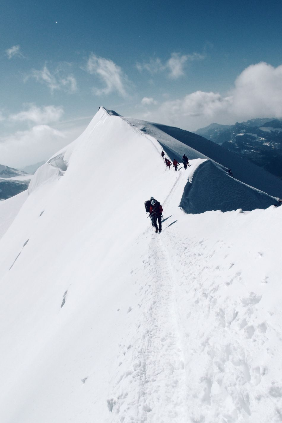 HIGH ABOVE, by Claudia Ioan Adventure Real People Snow Mountain Winter Leisure Activity Climbing Sport Outdoors Day Sky Landscape Nature VSCO Monte Rosa Italy