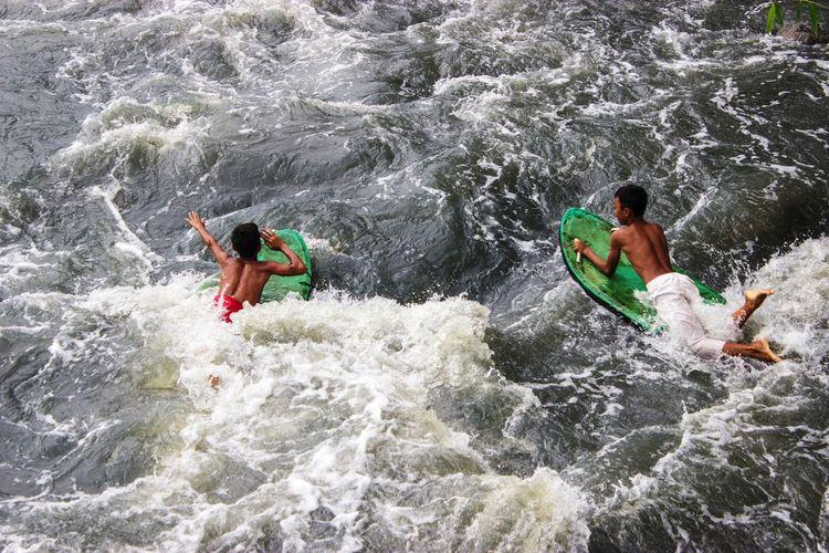 Adventure Children Playing Extreme Sports Leisure Activity Outdoors Sea Splashing Surfing Swiming