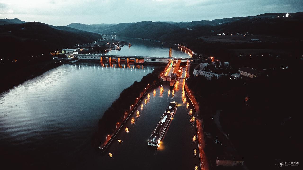 Donau Kraftwerk Night Lights Night Photography Persenbeug Schiff Sungoesdown Vonoben Water Ybbs Ybbs An Der Donau Ybbs-Persenbeug The Street Photographer - 2017 EyeEm Awards