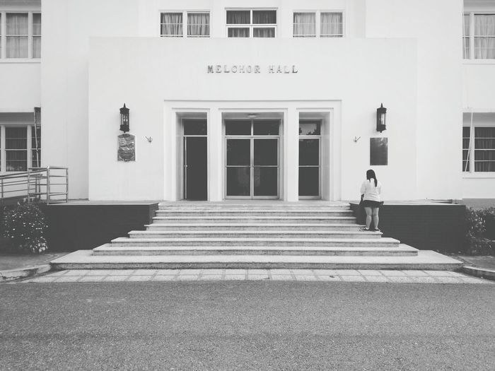 The girl on the Melchor hall. Building Exterior Architecture People Outdoors Adult One Person Day