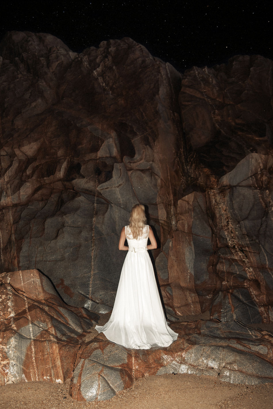 Crystal Castles Beach Blonde Bride Brown Linas Was Here Nightscape Ocean Rocks Rocky Shore Stars Wedding Dress White Woman