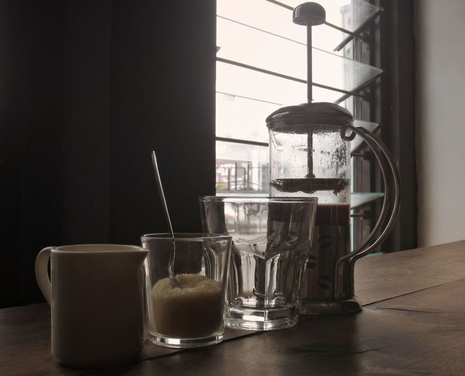 Drink Indoors  Table Coffee Coffee Time Coffee Shop French Press French Press Coffee Refreshing Drink Relaxation Relaxing DIY Wood Tabletop Vintage Photo Vintage Drinking GlassNo People Close-up Freshness Still Life Still Life Photography