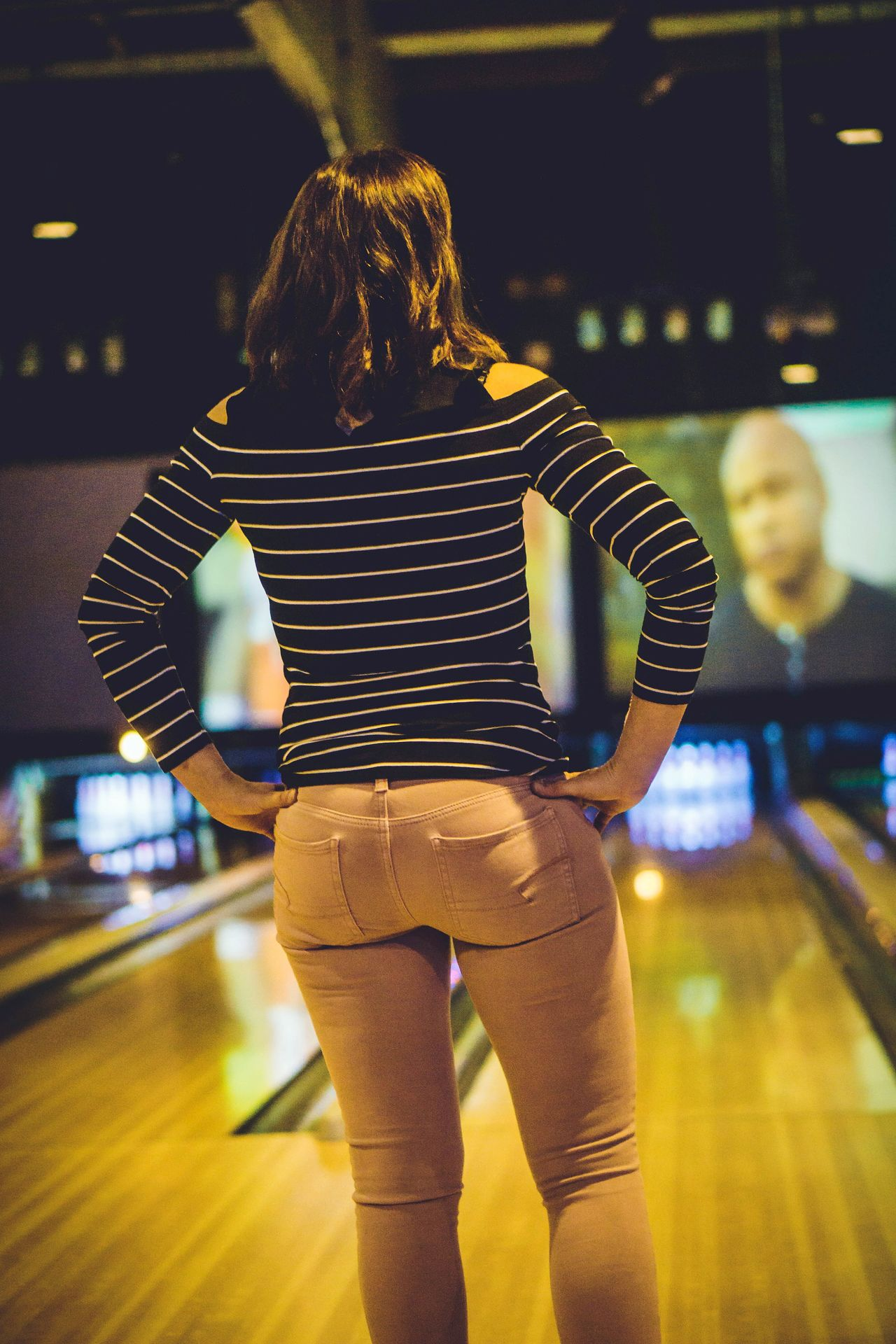 Front View Adults Only One Person People Adult Technology Night Young Adult Bowling Bowling Alley