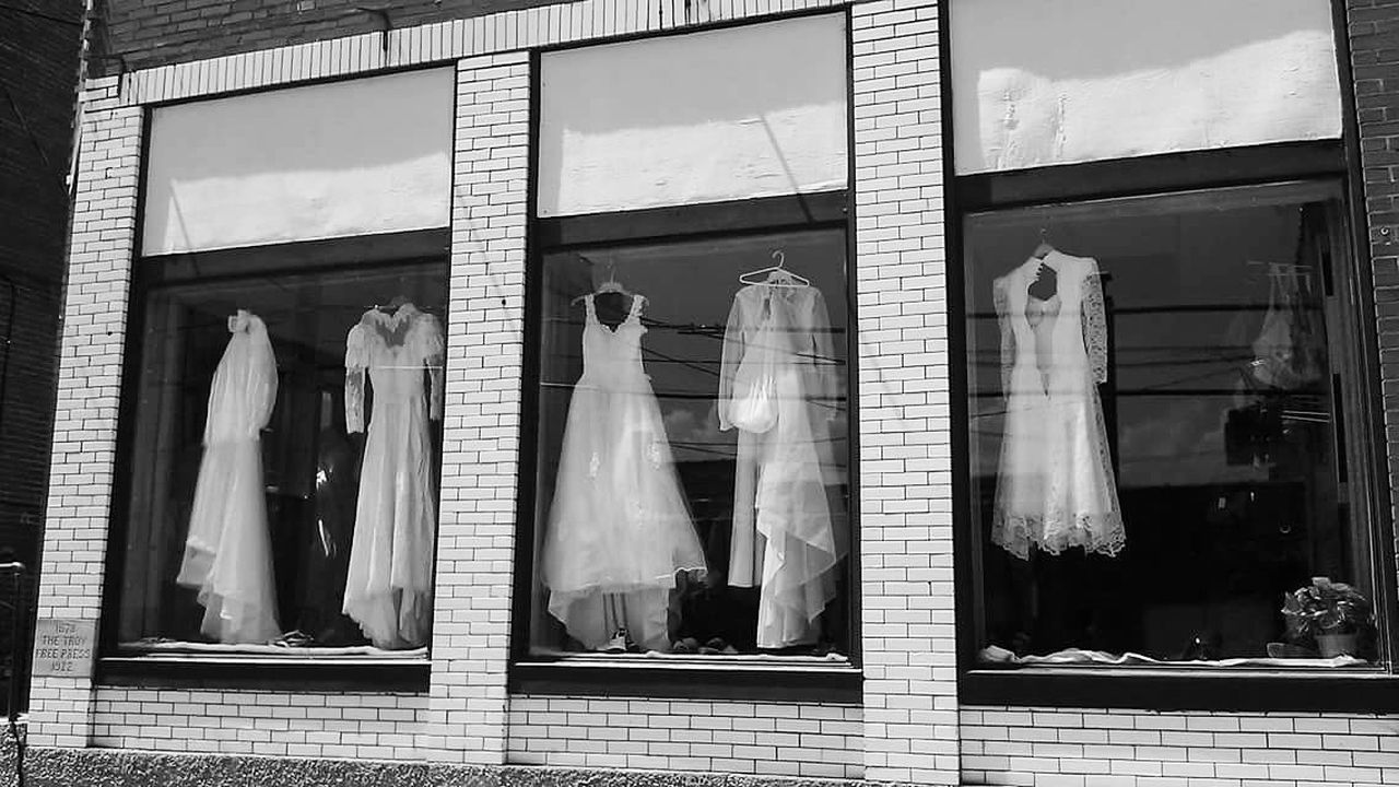Window Display Bridaldress Troy Missouri Thriftstore Black And White Showing Imperfection