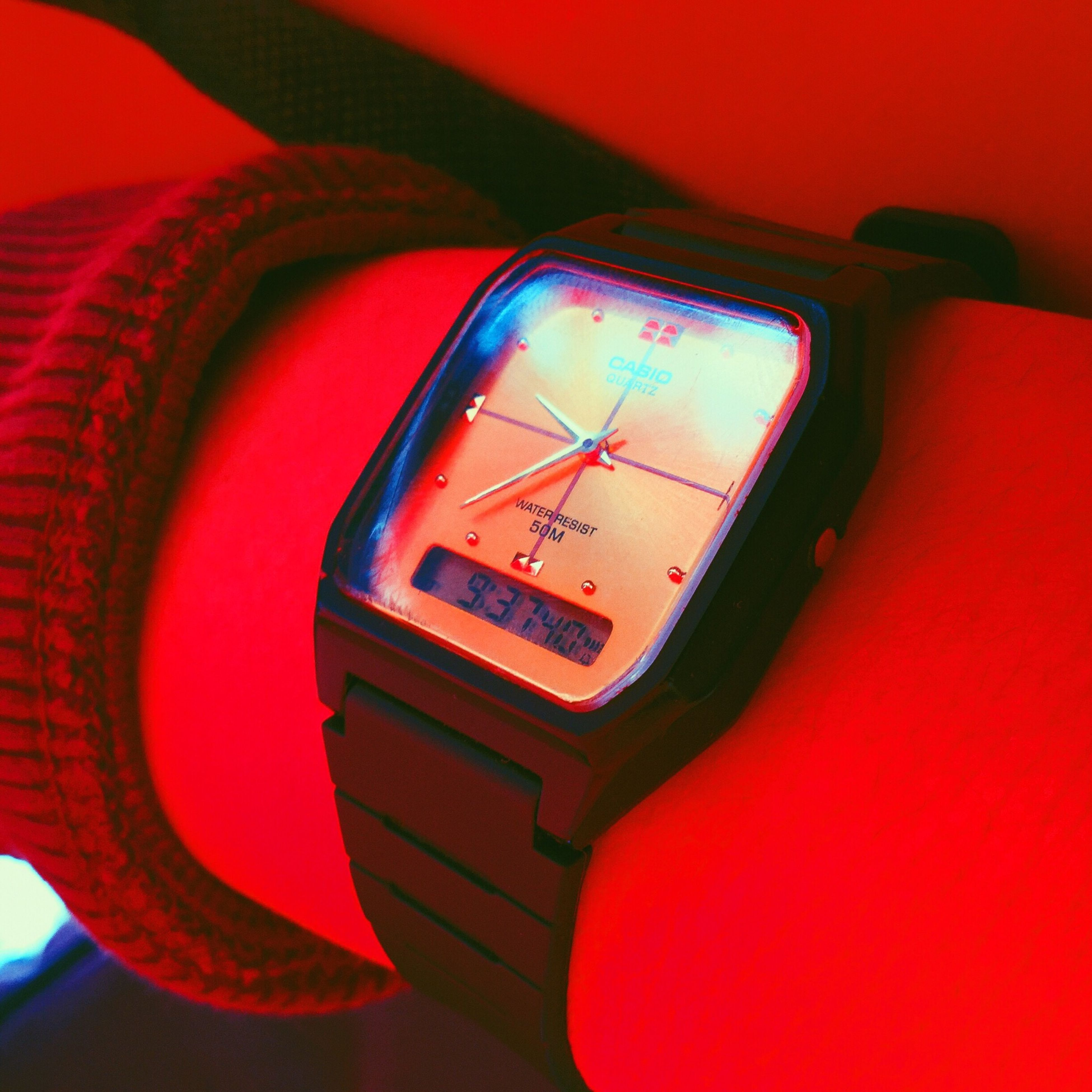 indoors, red, close-up, illuminated, single object, pattern, no people, absence, technology, arts culture and entertainment, focus on foreground, lighting equipment, empty, still life, design, music, selective focus, shiny, old-fashioned, seat