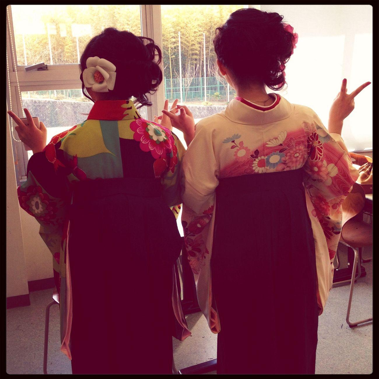 卒業ー♡ Taking Photos With Friends Japan Kimono