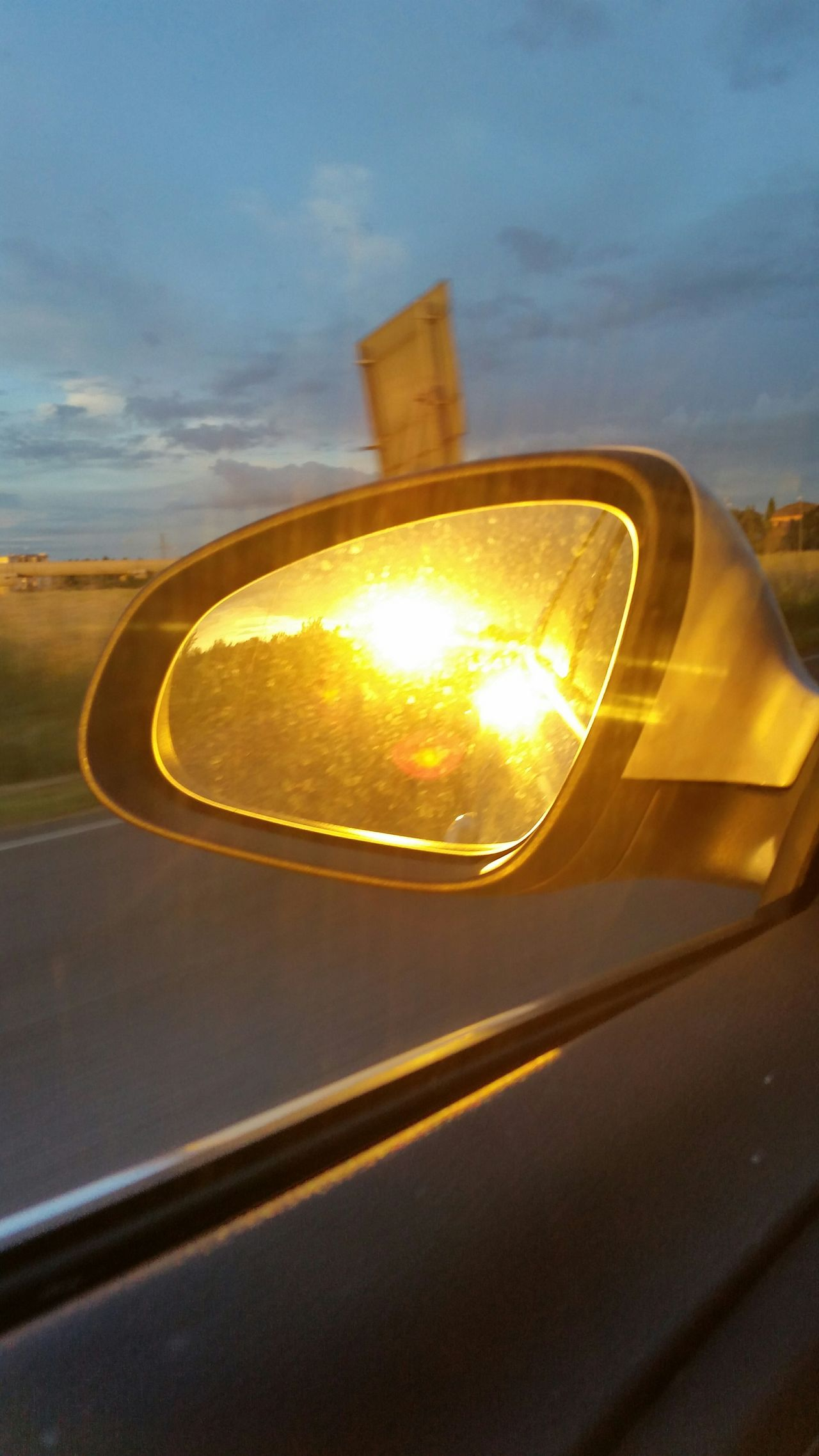 Sunset Mirror White Car Macchina Drive Tramonto Specchietto