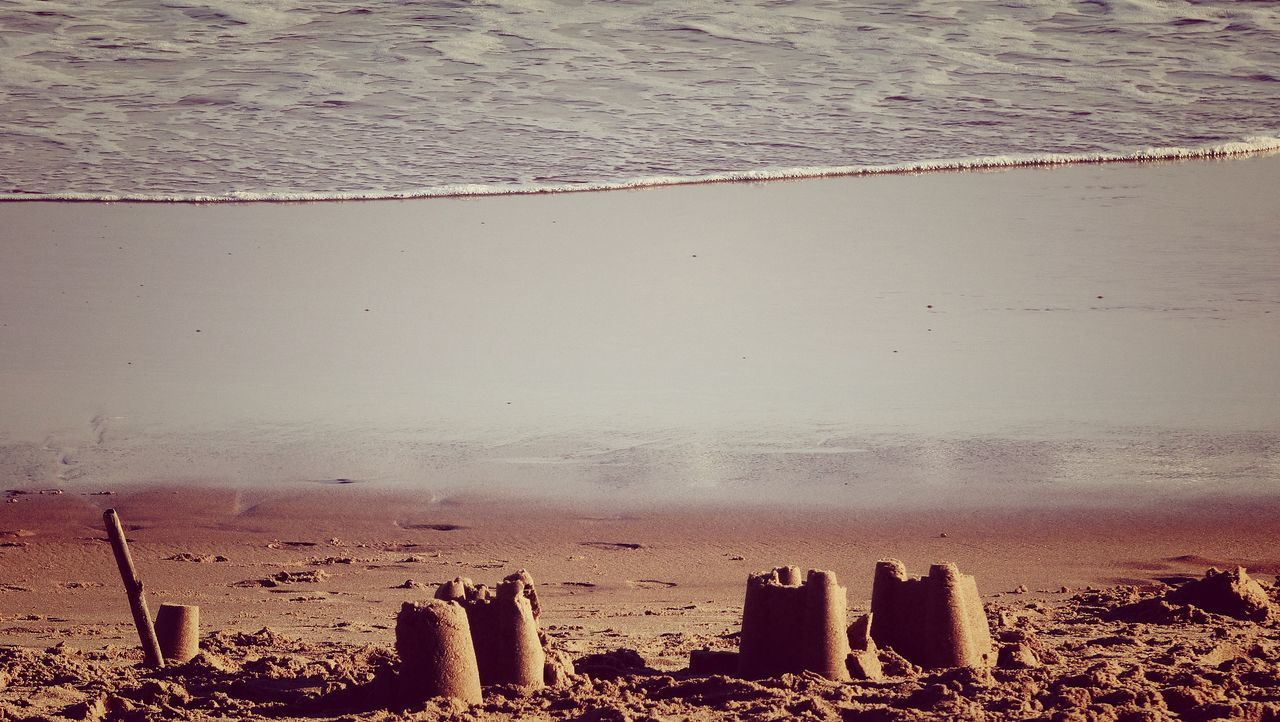 Sandcastles At Beach