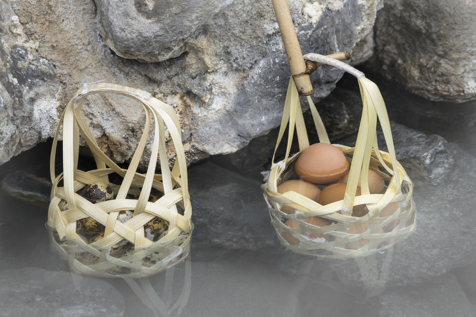 Boiled eggs in basket in nature hot springs Boiled Cooking Egg Food Healthy Hot Spring Nature Onsen Spring