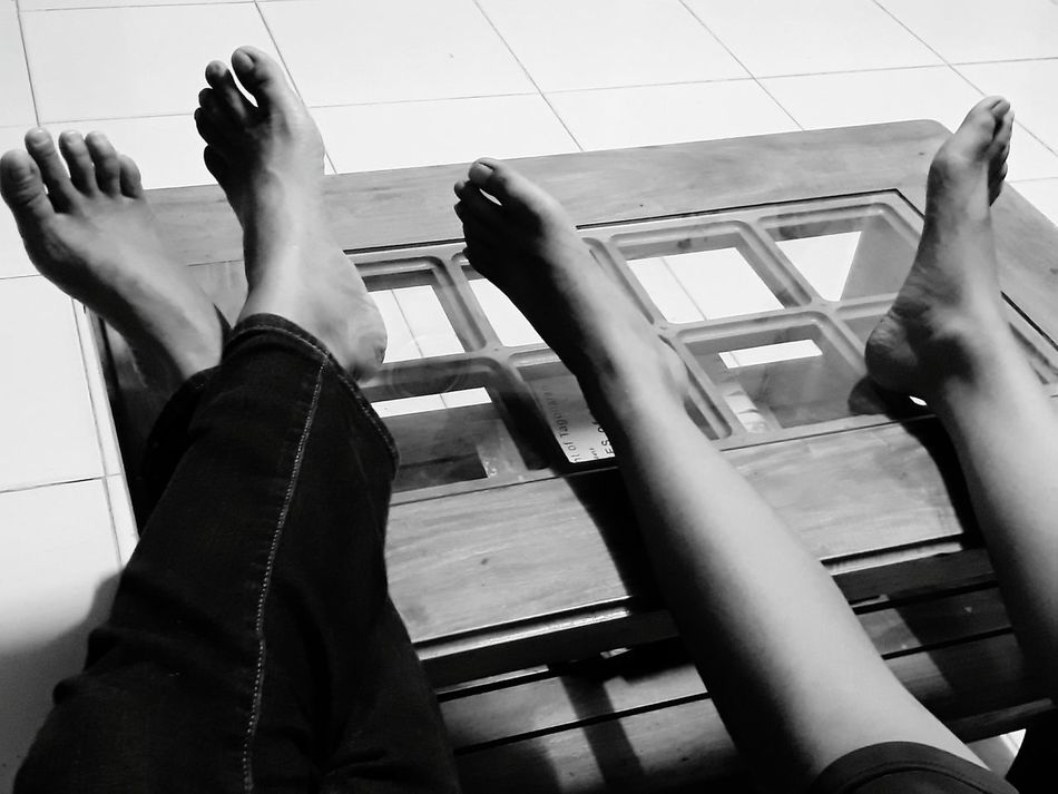 Indoors  People Real People Human Body Part Resting Feet On The Table Black And White EyeEmNewHere