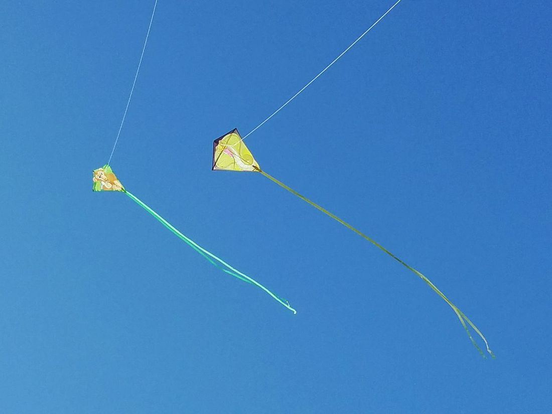 Clear Sky No People Blue Day Sport Outdoors Sky Two Kites Kids Toys Windy Days