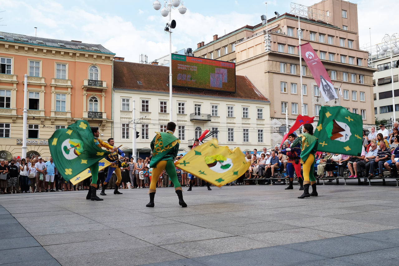 Members of folk group Storici Sbandieratori Contrade Cori, from Cori, Italy during the 50th International Folklore Festival in center of Zagreb, Croatia on July 20, 2016 Celebration Cori Costume Croatia Culture Dance Entertainment Event Festival Folk Folklore Historical Italy Music Participant Perform Show Style Tradition Zagreb