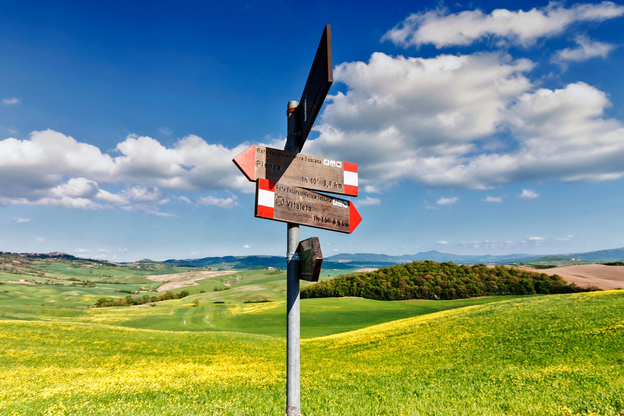 Italy Landscape Nature Non-urban Scene Outdoors Pienza (toscana) Road Sign Tranquility Tuscany Tuscany Countryside Val D'orcia