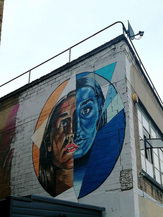 Graffiti Art Graffiti & Streetart Graffiti Wall Blue Woman Portrait Twofaced Industrial Area Low Angle View