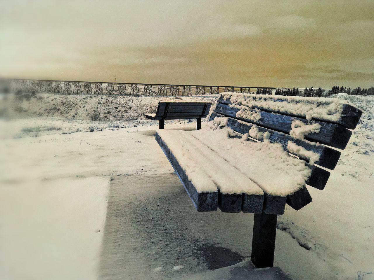 IPhoneography Januaryphotochallenge Showcase: January Bench Overlooking Coulees Train Trestle Bridge Iphonephotography IPhone Photography Iphonephotoacademy IPS2016Winter