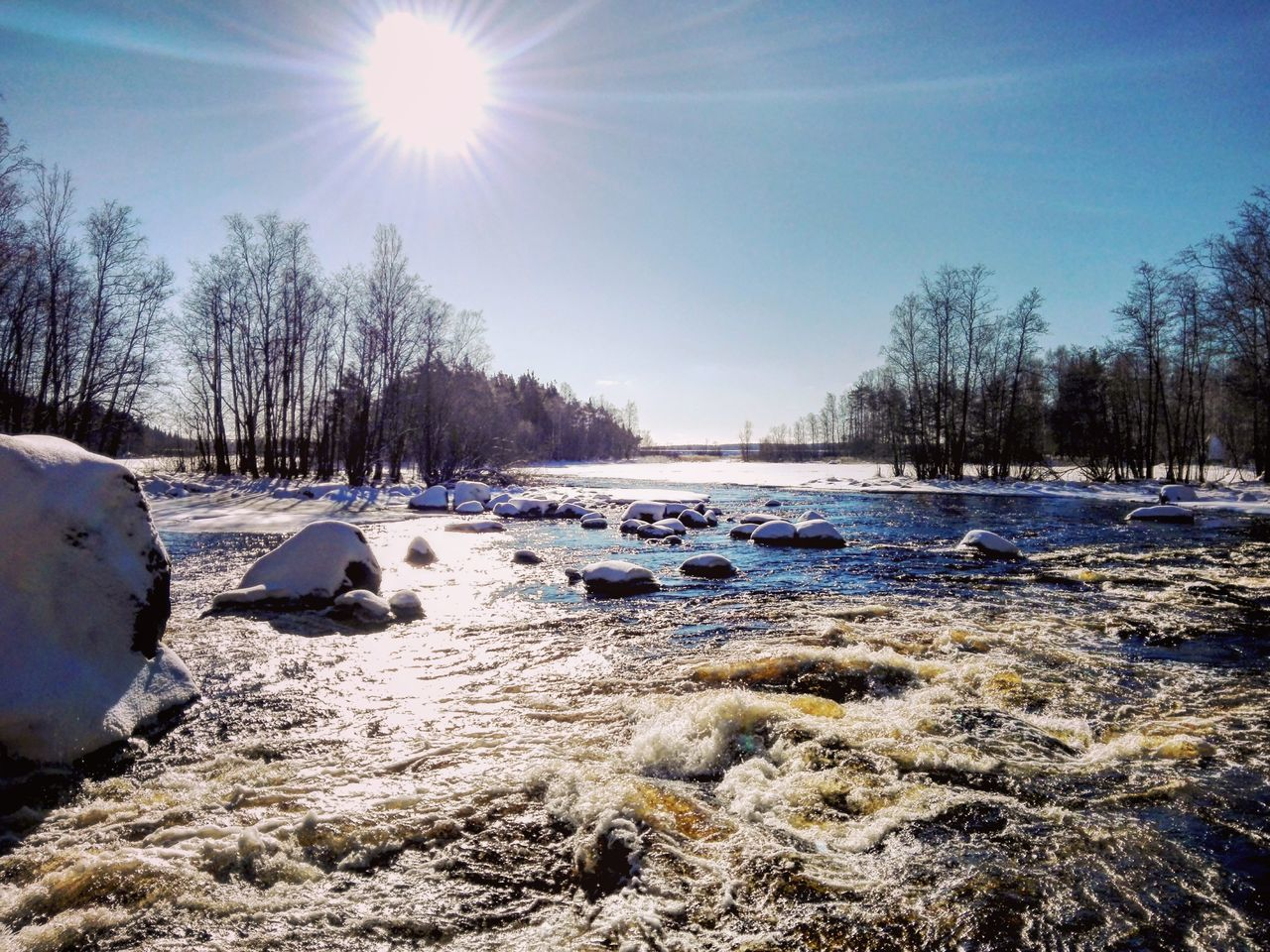 Nice day Snow Winter Sunlight Outdoors Nature Landscape Naturebeauty Weather Naturelovers Finnish Nature Photography Photographer Nature Photography Landscape_photography Colourful Naturepath Flowing Water Daytime Sky